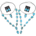 Sterling Silver Red Spiderweb Turquoise Necklace Jewelry Set 35949