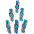 Kingman Turquoise Nugget Navajo Pointer Rings 35961
