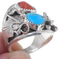 Sterling Silver Turquoise Wolf Ring 35968