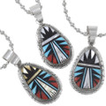 Turquoise Coral Mother of Pearl Sterling Silver Pendant 35984