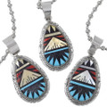 Coral Mother of Pearl Inlay Zuni Turquoise Pendants 35990