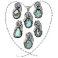 Natural Royston Turquoise Pendants Sterling Silver 29048