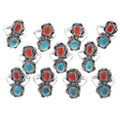 Kingman Turquoise Red Coral Rings 38040