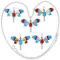 Turquoise Coral Mother of Pearl Tile Inlay Butterfly Pendants 38045