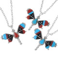 Turquoise Coral Jet Mosaic Inlay Zuni Butterfly Jewelry 38046