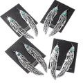 Silver Feather Turquoise Earrings 30216