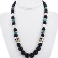 Onyx Turquoise Beaded Silver Gold Necklace 32993