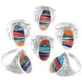 Native American Geometric Inlay Turquoise Ring 35872