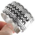 Overlaid Silver Navajo Pattern Handmade Bracelet 29989