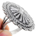 Silver Concho Ring Hammered Shank 39146