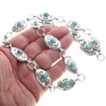 Navajo Turquoise Sterling Link Hatband 39153