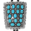 Navajo Turquoise Cluster Silver Bolo Tie 39198