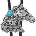 Navajo Sterling Silver Overlay Horse Bolo Tie 32991