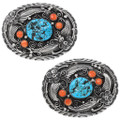 Turquoise Nugget Rodeo Style Belt Buckle 21187
