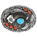 Turquoise Coral Bear Claw Belt Buckle 26695