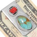 Nevada Turquoise Red Coral Navajo Money Clips 39297