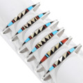 Turquoise Gold Shell Coral Inlay Native American Bracelet 39313