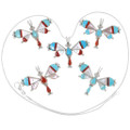 Dragonfly Turquoise Coral Mother of Pearl Inlay Pendant 39317