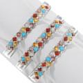 Colorful Gemstone Mix Inlay Silver Bracelet 39322