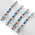 Coral Sleeping Beauty Turquoise Lapis Inlay Silver Bracelet 39326
