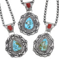 High Grade Kingman Turquoise Sterling Silver Navajo Necklaces 39334