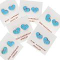 Native American Turquoise Heart Post Earrings Studs 39338