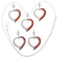 Coral Inlay Sterling Silver Heart Pendants 39342