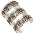 Navajo Dance Scene Cultural Art Silver Gold Native American Bracelet 39356