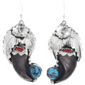 Bear Claw Turquoise Coral Dangle Earrings 33044