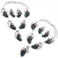 Navajo Bear Claw Turquoise Coral Y Necklace Set With Matching Dangle Earrings 33044