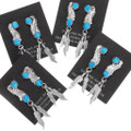 Native American Silver Feather Turquoise Western Earrings 39369