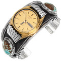 Sterling Silver Navajo Made Turquoise Watch Gold Seiko Timepiece 39386