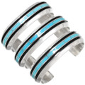 Turquoise Inlay Sterling Silver Native American Bracelets 39417
