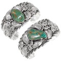Native American Sterling Silver Green Turquoise Bracelets 39419