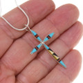 Turquoise Cross Zuni Geometric Inlay Necklace 39424