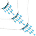 Turquoise Chandelier Necklace Silver Link Chain 39428