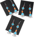 Sterling Silver Turquoise Long Western Dangle Earrings 39433