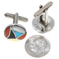 Sterling Silver Coral Turquoise Native American Cuff Links 39435