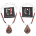 Sterling Silver Coral Southwest Jewelry Set