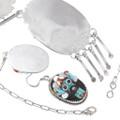 Native American Zuni Inlay Kachina Necklace Set Artist Beverly Etsate Signed 39439