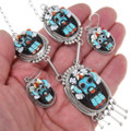 High Relief Zuni Inlay Kachina Necklace Earrings Set 39439