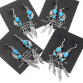 Navajo Artist Annie Spencer Silver Feather Turquoise Earrings 39441
