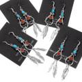 Native American Teardrop Earrings Feather Dangles 39444