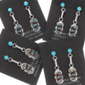Native American Turquoise Sterling Silver Dangle Earrings 39452