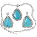 Sterling Silver Kingman Turquoise Pendants 39471