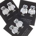 Native American White Owl Post Earrings 39472