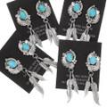 Native American Turquoise Feather Dangle Earrings 39476