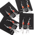 Red Spiny Oyster Dangle Native American French Hook Earrings 39478