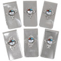 Silver Turquoise Sunface Credit Card Money Clip 39481