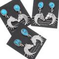 Native American Turquoise Silver Horse Dangle Earrings 39493